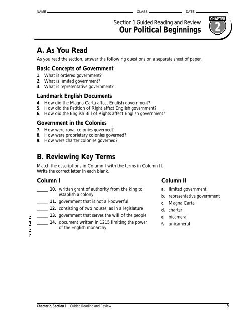 Chapter 2 Section 1 Guided Reading Analy High School Staff