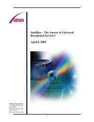 Satellites – The Answer To Universal Broadband Services? - Futron ...