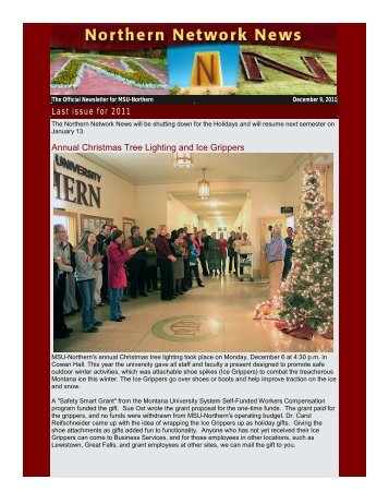 The Official Newsletter For MSU - Montana State University-Northern