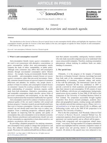 anti consumption and brand avoidance lee 2009 The broad domain of anti-consumption, and the specific topic of brand avoidance, is becoming more interesting and important to scholars, managers, and consumers.