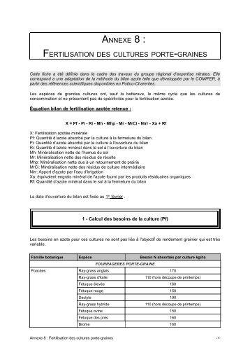 Annexe 8 - Cultures porte-graines - DRAAF Poitou-Charentes