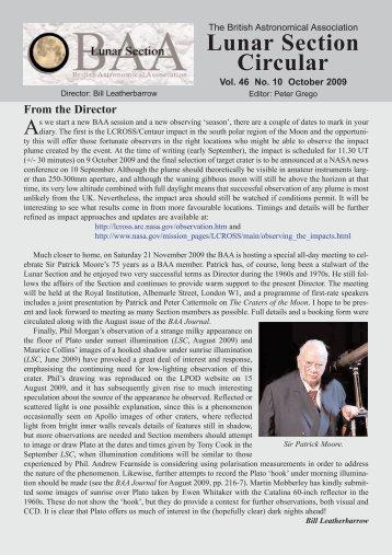 Vol 46, No 10, October 2009 - BAA Lunar Section