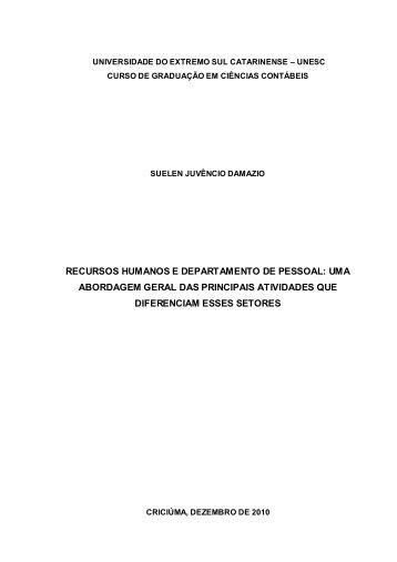 recursos humanos e departamento de pessoal - Unesc