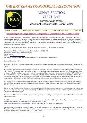 Vol 43, No 9, September 2006 - BAA Lunar Section