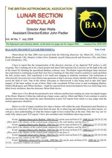 Vol 45, No 7, July 2008 - BAA Lunar Section