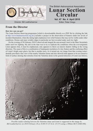 Vol 47, No 4, April 2010 - BAA Lunar Section