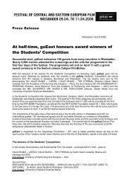 At half-time, goEast honours award winner of the Students' Films ...
