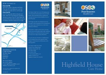 Highfield House Brochure - Four Seasons Health Care