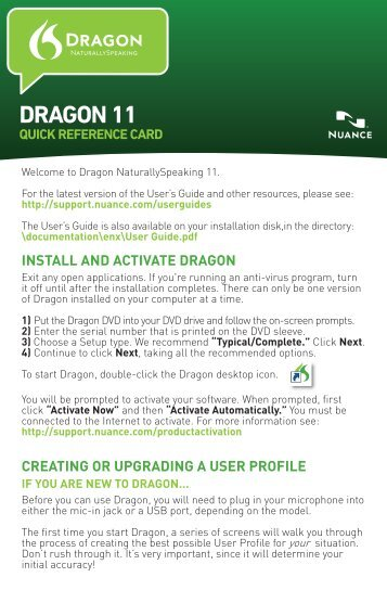INSTALL AND ACTIVATE DRAGON CREATING OR UPGRADING A ...