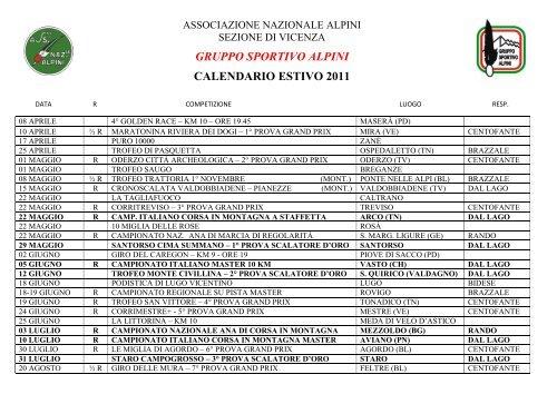 Calendario Vicenza.Gruppo Sportivo Alpini Calendario Estivo 2011 Sezione Vicenza