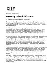 Screening cultural differences - International Arts & Artists