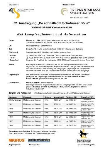 De schnällscht Schafuuser Bölle - Leichtathletik  Club Schaffhausen