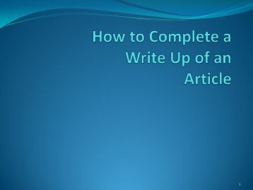 Article write up