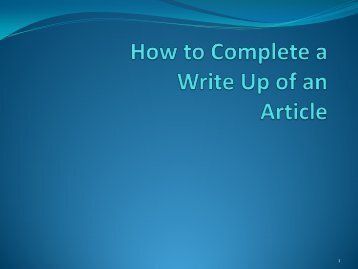 How to complete a Write Up of an Article