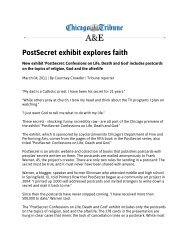PostSecret exhibit explores faith - International Arts & Artists