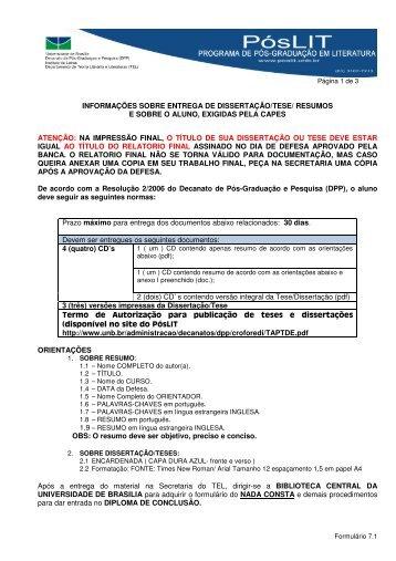 informações sobre entrega de dissertação/tese/ resumos e ... - TEL