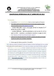 disciplinas oferecidas no 2º semestre de 2012 - FCM - Unicamp