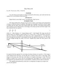 Lab 9: Thin Lenses - Physics
