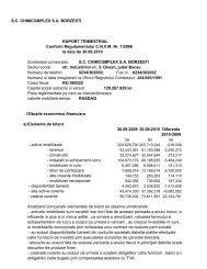 S.C. CHIMCOMPLEX S.A. BORZESTI RAPORT TRIMESTRIAL ...