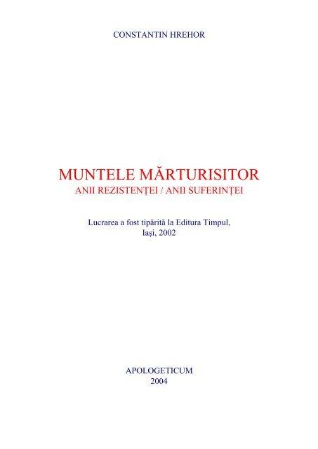 Constantin Hrehor - Muntele marturisitor pdf - Despre demnitate
