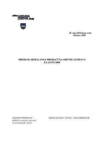 17.) Predlog rebalansa proračuna Občine Lendava za leto 2009