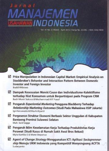 Jurnal Manajemen dan Usahawan Indonesia - DIGITAL LIBRARY ...