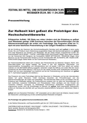 09. April 2006 - goEast - Deutsches Filminstitut