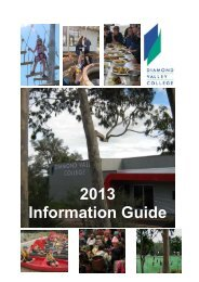 2013 DVC Information Guide - Diamond Valley College