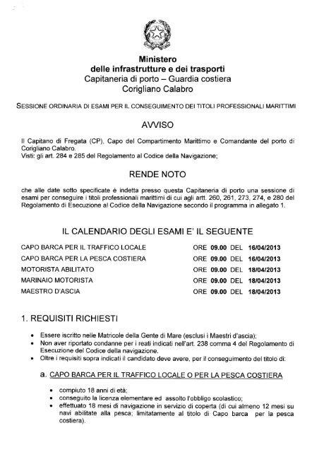 Calendario Esami Titoli Professionali Marittimi.Marinaio Motorista Guardia Costiera
