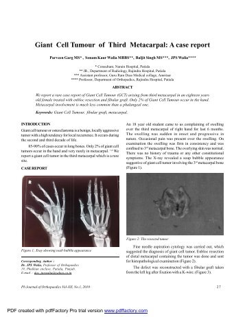 Giant Cell Tumour of Third Metacarpal: A case report - Punjab ...