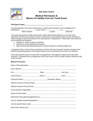 Unstoppable Retreat Liability  Medical Release Form Youth Group