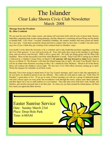 March 2008 to proof - Clear Lake Shores Civic Club