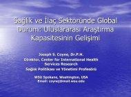 Uluslararası Araştırma Kapasitesinin Gelişimi - Sağlık İdaresi Bölümü