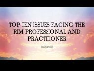 Top Ten Issues Facing The Rim Professional And Practitioner