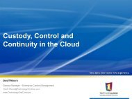 Custody, Control and Continuity in the Cloud - Records and ...