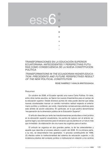 transformaciones en la educación superior ecuatoriana