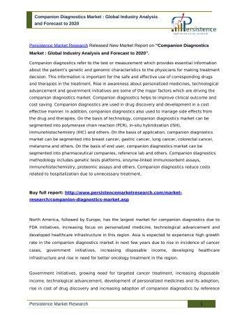 JSB Market Research: In Vitro Diagnostic (IVD) Market Technique & Applications – Forecast To 2017