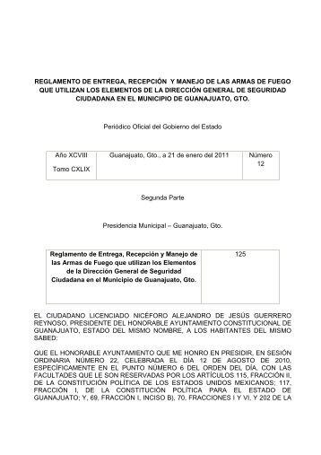 Reglamento de Entrega, Recepción y Manejo de las ... - Guanajuato