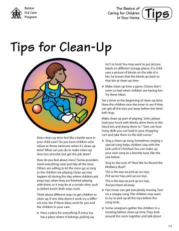 Tips for Clean-Up - Better Kid Care