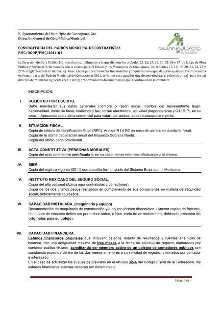 H. Ayuntamiento del Municipio de Guanajuato, Gto ...