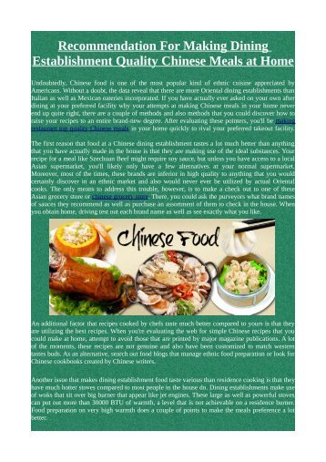 Recommendation For Making Dining Establishment Quality Chinese Meals at Home
