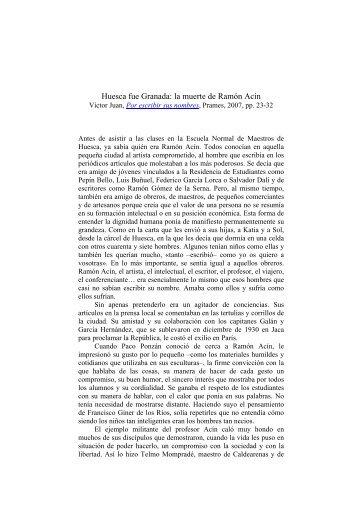 Huesca fue Granada: la muerte de Ramón Acín - Víctor Juan