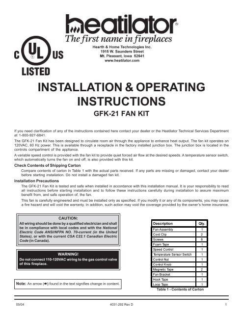 4031 292d Gfk 21 Blower System Heatilator Fireplaces