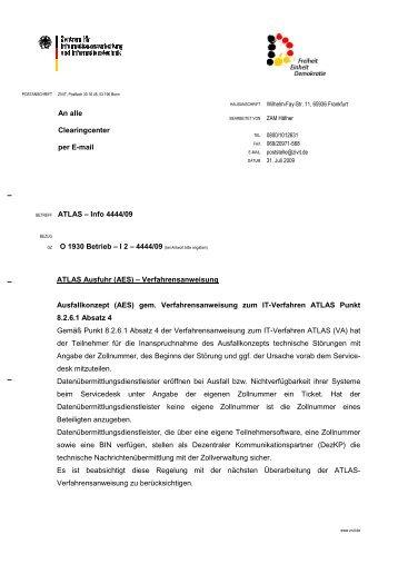 An alle Clearingcenter per E-mail ATLAS – Info 4444/09 O ... - KIS