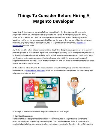 Things To Consider Before Hiring A Magento Developer
