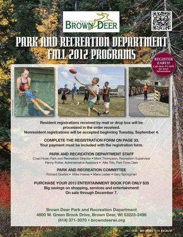 park and recreation department fall 2012 ... - Village of Brown Deer