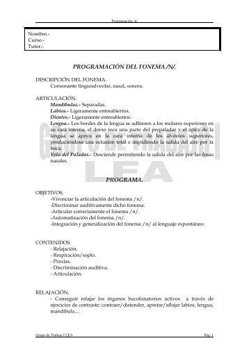 PROGRAMACIÓN DEL FONEMA /N/. PROGRAMA.