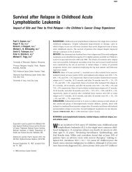 Survival after Relapse in Childhood Acute Lymphoblastic ... - sygdoms