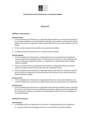 ESTATUTOS Artículo primero 1. El Forum Español para la Prevención ...
