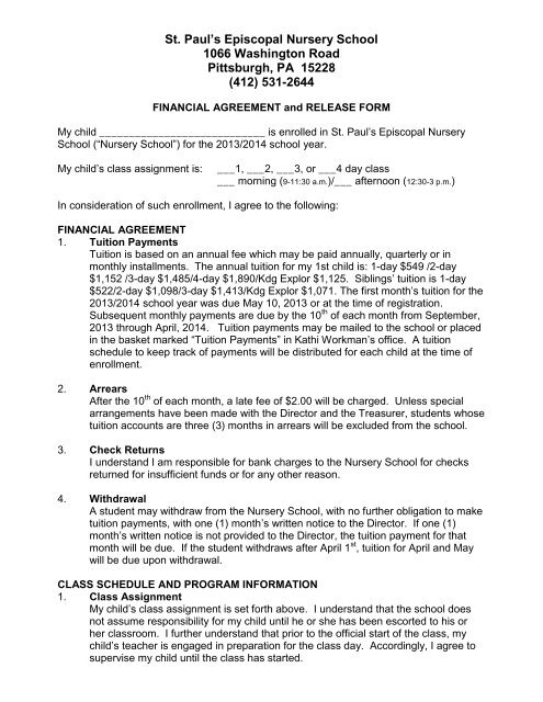Financial Agreement And Release Form St Pauls Episcopal
